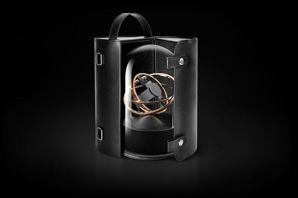 Кутия за самонавиващи се часовници Bernard Favre PLANET DOUBLE-AXIS ROSE GOLD RINGS BLACK ALU BASE